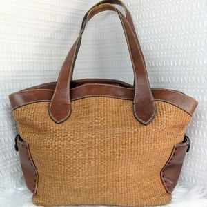 Fossil   Woven Straw & Leather Tote Bag Purse